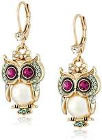 """Betsey Johnson Pearl Critters"""" Owl Drop Earrings"""