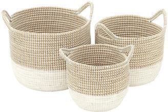 One Kings Lane Asst. of 3 Ella Decorative Baskets - Natural/White