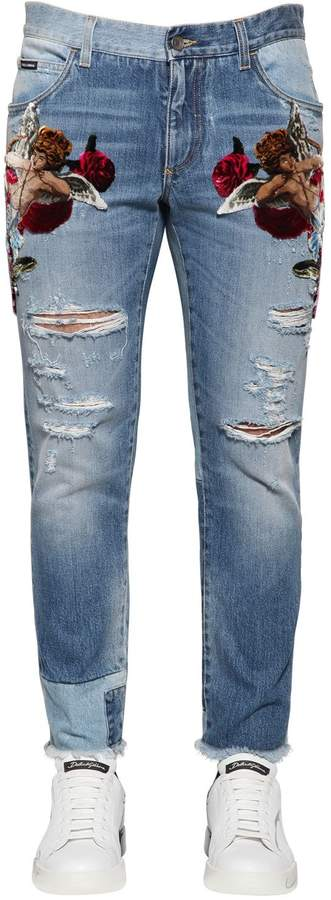 Dolce & Gabbana 16.5cm Velvet Patches Destroyed Jeans