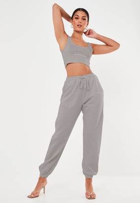 Missguided Light Grey Oversized 90S Joggers