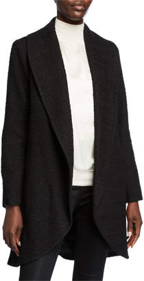 Fleurette Textured Wool-Blend Open-Front Coat