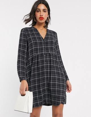 Esprit check print smock shirt dress in black