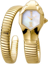 Just Cavalli 22mm Glam Chic Coiled Snake Bracelet Watch, Pearl