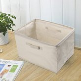 Cotton Linen Foldable Cloth Storage Cuboid Basket Bins Organizer Containers Beige Series Shallow Mouth Handle Ditty (14.57''x10.24''x9.84'')