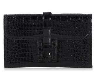 Hermes Jige Black Crocodile Clutch bags