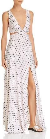Bec & Bridge Little Cuba Dotted-Silk Maxi Dress