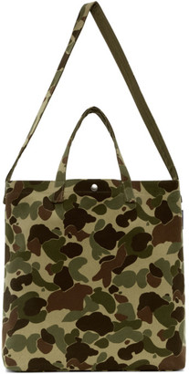 Comme des Garcons Homme Beige and Green Cotton Canvas Tote
