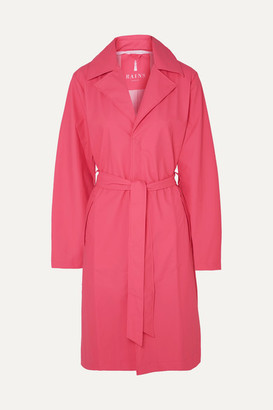 Rains Belted Matte-pu Trench Coat - Pink