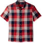 Perry Ellis Men's Short Sleeve Plaid Linen Shirt