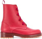RED Valentino RED(V) frayed laces combat boots