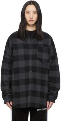 Palm Angels Black Flannel Logo Overshirt