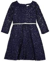 Us Angels Girls' Sequin & Lace Belted Dress - Big Kid