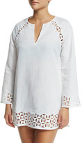 Tory Burch Embroidered Cutout Linen-Blend Tunic Coverup