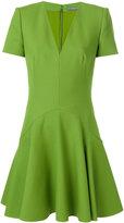 Alexander McQueen V-neck flared mini dress - women - Silk/Polyamide/Wool - 40