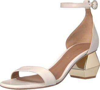 Emporio Armani Women's Nappa Leather Ankle Strap Sandal Pump Warm White 36 Medium EU (6 US)