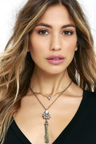 LuLu*s Gem-tle Giant Silver and Turquoise Rhinestone Necklace