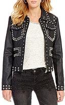 Chelsea & Violet Faux-Leather Studded Jacket