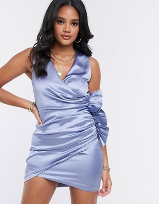 The Girlcode satin ruffle wrap mini dress in blue