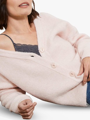 Mint Velvet Ribbed Wool Blend Cardigan, Blush Pink