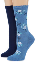 MIXIT Pillow Sole by Mixit 2 Pair Crew Socks