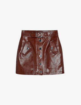 Topshop Mid-rise crocodile-embossed faux-leather mini skirt
