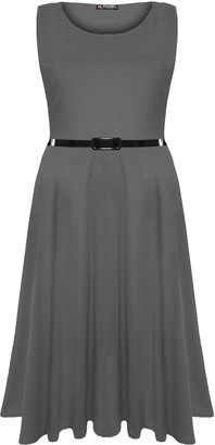 Oops Outlet Womens Ladies Plain Belted Sleeveless Flared Swing Midi Skater Dress Plus Size