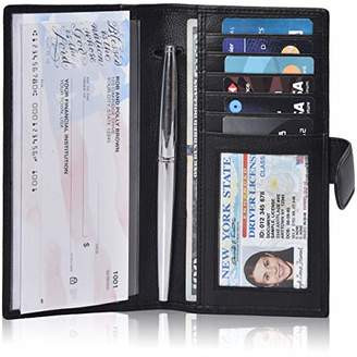Leather Checkbook Cover For Men & Women- Checkbook Registers RFID Blocking checkbook wallet ()