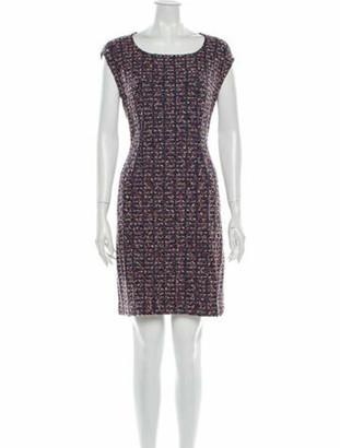 St. John Tweed Pattern Mini Dress Blue