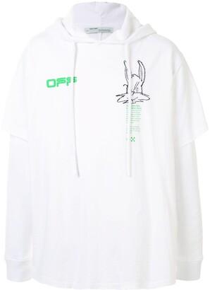 Off-White logo-print hooded long-sleeved T-shirt