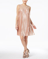 Jax Illusion Pleated Metallic Trapeze Dress
