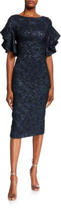 Theia Ruffled Elbow-Sleeve Jacquard Sheath Dress