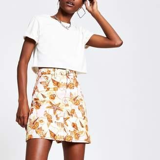 River Island Womens Pink shell print mini denim skirt