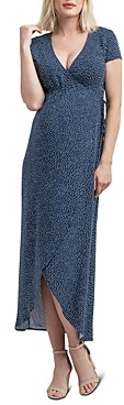 Nom Maternity Delilah Dotted Faux Wrap Maxi Dress