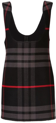 Yang Li Plaid Plunge Front Dress