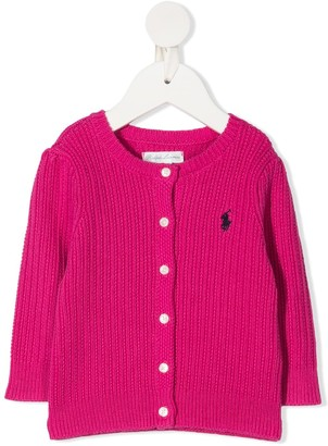 Ralph Lauren Kids Cable Knit Logo Embroidered Cardigan