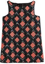 Milly Minis Sleeveless Diamond Jacquard Shift Dress, Multicolor, Size 4-7