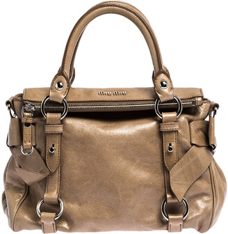 Miu Miu Light Brown Vitello Leather Bow Satchel