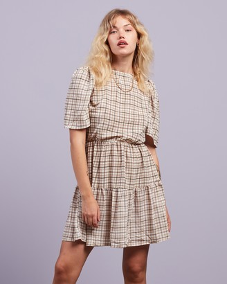 Missguided Women's Brown Mini Dresses - Puff Sleeve SS Gingham Smock Dress - Size 8 at The Iconic