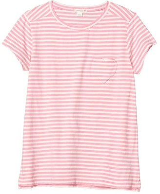 crewcuts by J.Crew Striped Heart Pocket Tee (Toddler/Little Kids/Big Kids) (Ivory/Pink) Girl's T Shirt