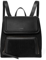 DKNY Leather And Pinstriped Suede Backpack