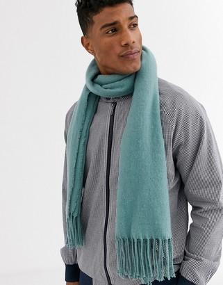 ASOS DESIGN blanket scarf in teal with tassels