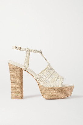 Cult Gaia Thea Braided Leather Espadrille Platform Sandals - Off-white
