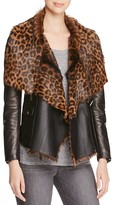 Barbara Bui Leather and Printed Fur Jacket