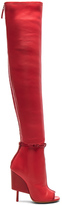 Givenchy Thigh High Open Toe Leather Boots in Red.