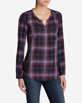 Eddie Bauer Women's Tranquil Falling Leaves Long-Sleeve Top - Plaid