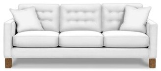 "Latitude Run Questa 86"" Square Arm Sofa Fabric: Indigo 100% Cotton, Leg Color: Latte"