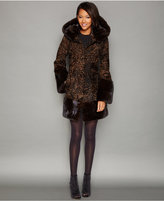 The Fur Vault Mink-Fur-Trim Hooded Persian Lamb Coat