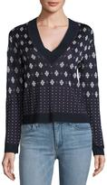 Rag & Bone Fair Isle V-Neck Sweater, Navy