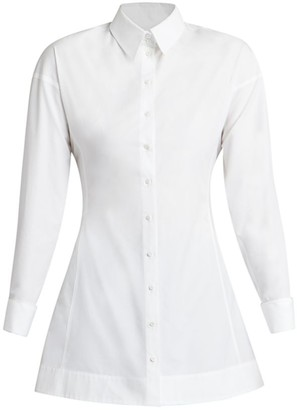 Alaia Back Pleated Poplin Blouse