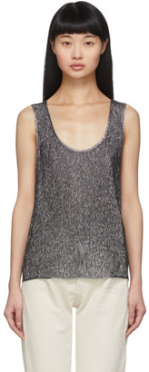 Saint Laurent Silver Lame Jersey Tank Top
